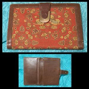Unique VTG Leather & Tapestry Wallet